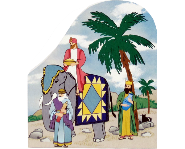 Wooden handcrafted keepsake of the Wise Men with the King's Crown quilt pattern created by The Cat's Meow Village