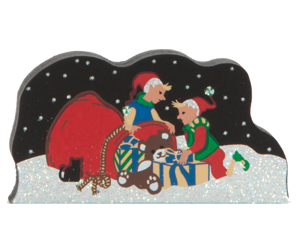 Packing Santa's Bag, Santa, elves, North Pole, winter, Christmas