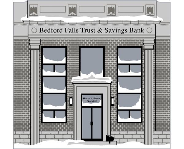Bedford Falls Trust & Savings Bank handcrafted in wood by The Cat's Meow Village is themed after the movie It's A Wonderful Life