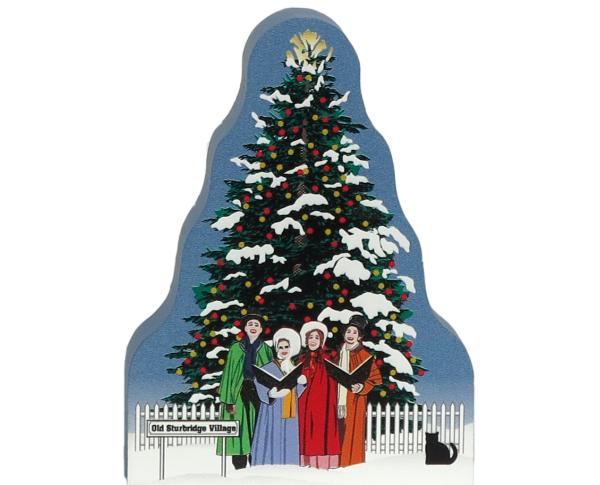 Wooden handcrafted Cat's Meow keepsake of the Christmas Tree & Carolers in Old Sturbridge Village, Massachusetts