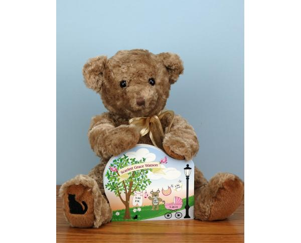 "Create your own personalized baby announcement with our 3/4"" thick wooden shelf sitter & get our ultra plush teddy, too. Made in the USA by The Cat's Meow Village"
