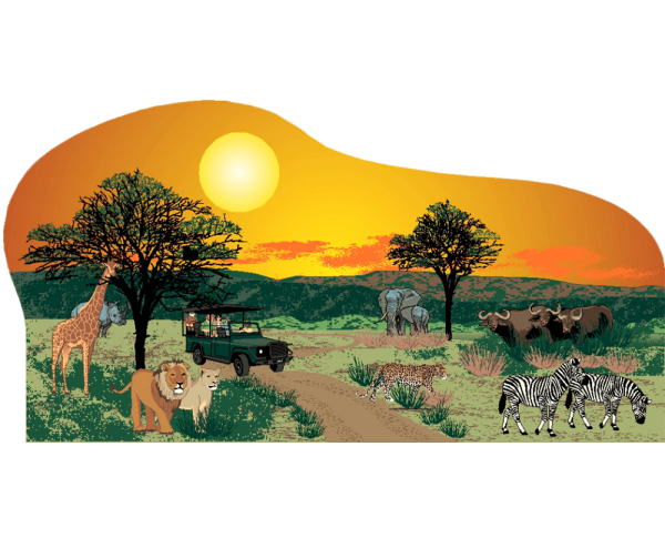 "Handcrafted 3/4"" thick wooden scene of an African Safari, including the ""big five"" animals of Africa. Crafted by The Cat's Meow Village in Wooster, Ohio."