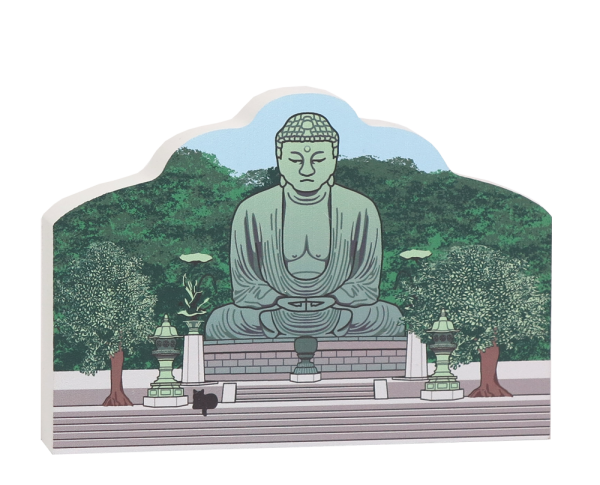 Keepsake of Great Buddha of Kamakura handcrafted in wood by The Cat's Meow Village