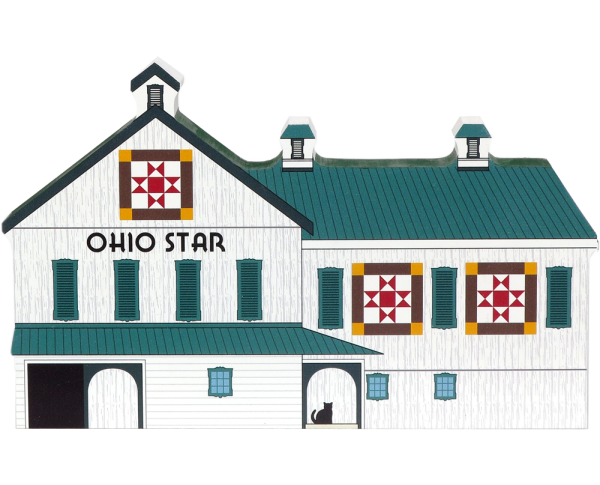 Handcrafted wooden shelf sitter of the Ohio Star Quilt Barn created by The Cat's Meow Village
