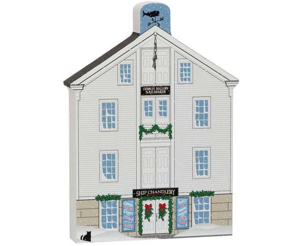 Wooden keepsake of Mystic Seaport Ship Chandlery, crafted in the USA by The Cat's Meow Village