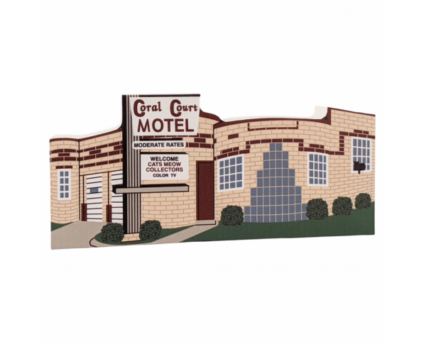 Art deco style Coral Court Motel wooden replica for your home decor, handcrafted in the US by The Cat's Meow Village.