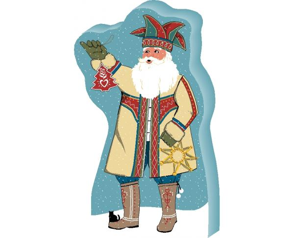 Add this Nordic Santa to your holiday decor this year. He tucks nicely into a candle arrangement or perch him on a shelf in your bookcase. Handcrafted in the USA by The Cat's Meow Village.