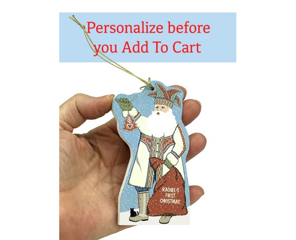 Personalize our Nordic Santa with family names for Christmas gifts this year. Handcrafted in the USA by The Cat's Meow Village.