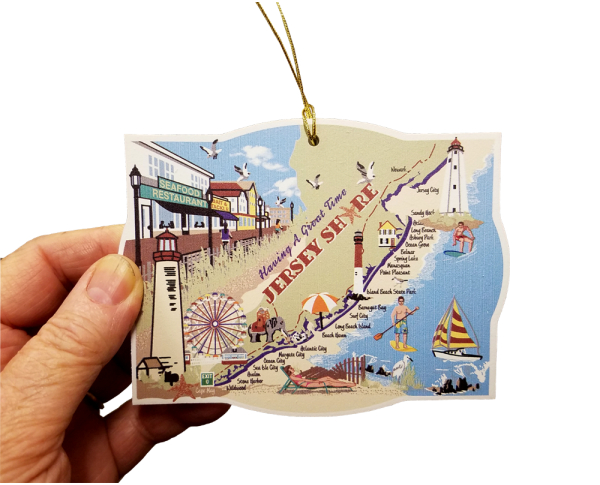 "Jersey Shore Ornament handcrafted in 1/4"" thick wood with colorful details on the front and shoreline history on the back. Handcrafted by The Cat's Meow Village in the USA."