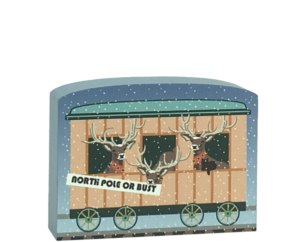 North Pole Limited - Reindeer Car to add to your holiday decor. Handcrafted in the USA by The Cat's Meow Village.