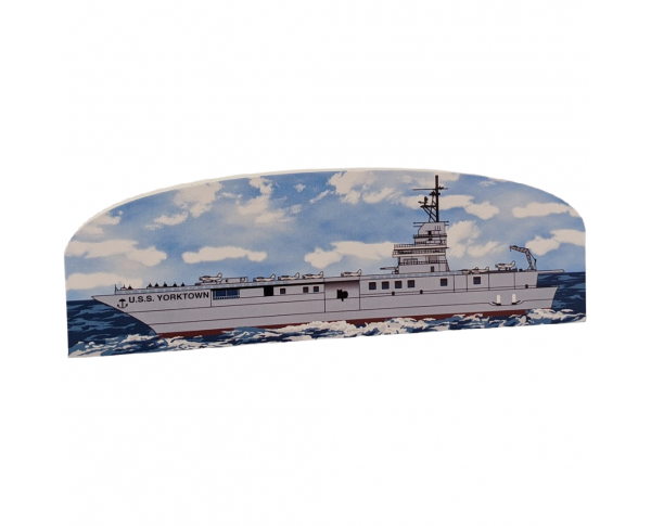 "Handheld wooden replica of the USS Yorktown you can add to your home or office decor to remember your trip to Charleston, SC. Handcrafted in the USA of 3/4"" wood with colorful details on the front and history on the back."