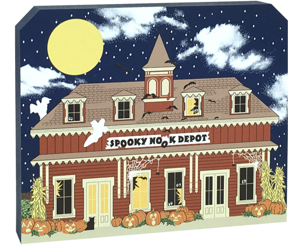 Show off your Halloween spirit with this wooden Spooky Nook Depot shelf sitter. We handcraft it in Wooster, Ohio. It includes glow-in-the-dark surprises!