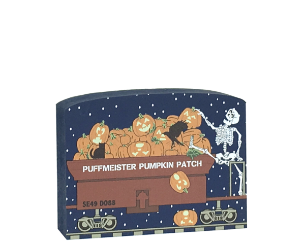 "This Buzzard Express Pumpkin train car is part of a 5-piece Halloween train set. Handcrafted by The Cat's Meow Village in Wooster, Ohio from ¾"" thick wood to set on a bookshelf, mantel, windowsill, or the trim above your doorway."