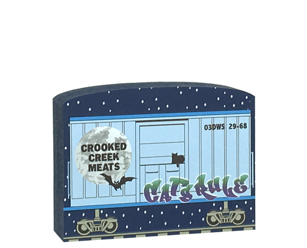 "This Crooked Creek Meats train car is part of a 5-piece Halloween train set. Handcrafted by The Cat's Meow Village in Wooster, Ohio from ¾"" thick wood to set on a bookshelf, mantel, windowsill, or the trim above your doorway."