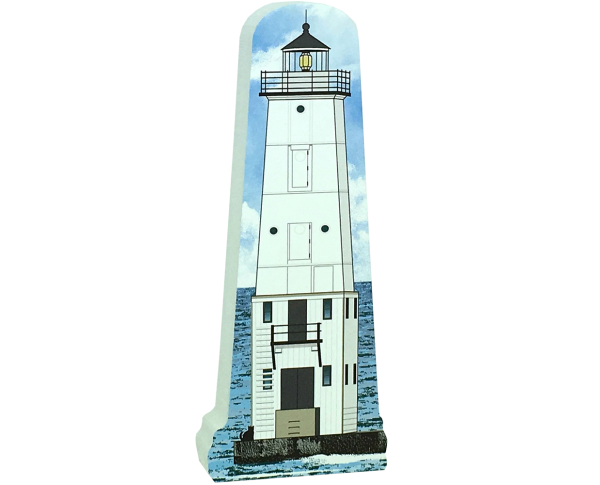 "Replica of the Frankfort North Breakwater lighthouse handcrafted in 3/4"" thick wood by The Cat's Meow Village in Wooster, Ohio."