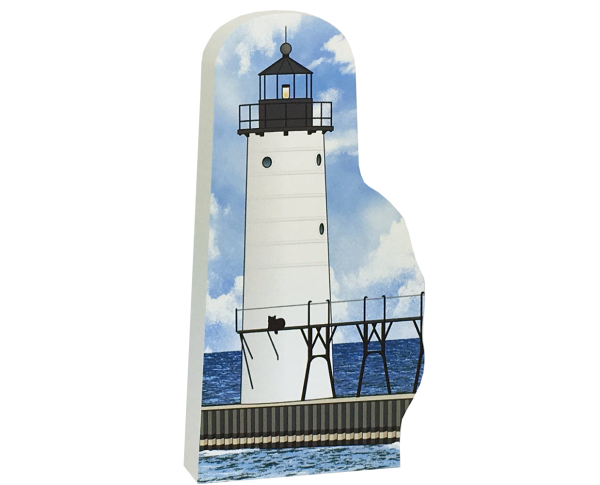 "Replica of the Manistee North Pierhead Light handcrafted in 3/4"" thick wood by The Cat's Meow Village in Wooster, Ohio."