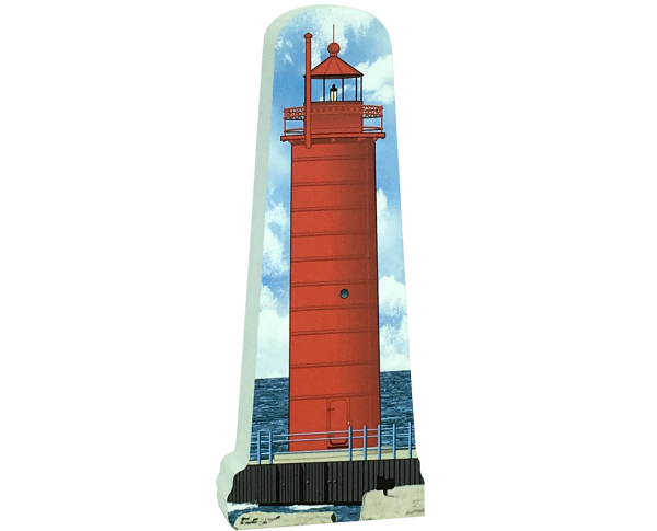 "Replica of the Muskegon South Pierhead Lighthouse handcrafted in 3/4"" thick wood by The Cat's Meow Village in Wooster, Ohio."