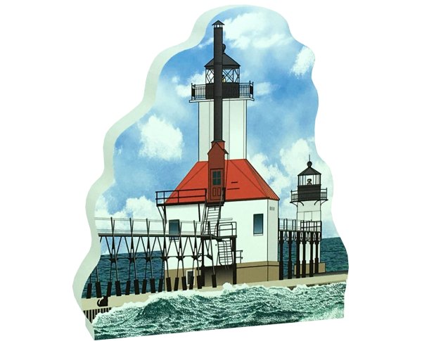 "Get your paws on this St. Joseph North Pier Lights if you are a lighthouse lover! Handcrafted of 3/4"" thick wood by The Cat's Meow Village. Made in the USA."