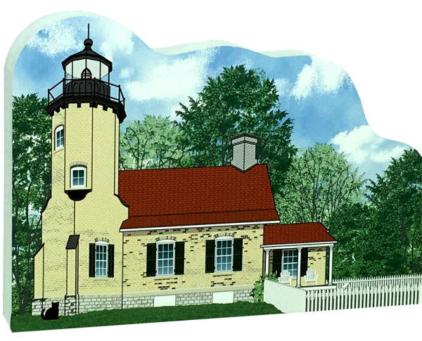 "Get your paws on this White River Lighthouse if you are a lighthouse lover! Handcrafted of 3/4"" thick wood by The Cat's Meow Village. Made in the USA."