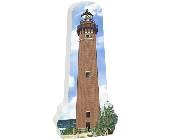 Wooden replica of the Little Sable Point Lighthouse in Mears, Michigan. Handcrafted in the USA by The Cat's Meow Village.