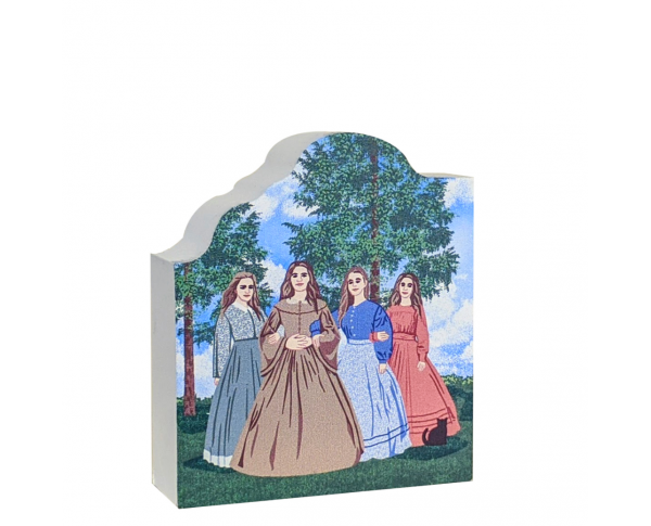 This scene depicts Louise May Alcott with her siblings, Anna as Meg, Elizabeth as Beth, Abba as Amy and herself as Jo. Handcrafted of wood in the USA by The Cat's Meow Village.