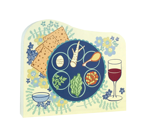"Passover Seder Plate replica to share with family. Handcrafted in 3/4"" thick wood by The Cat's Meow Village in Wooster, Ohio."