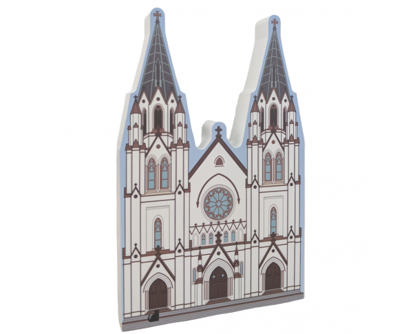 "Detailed front of the Cathedral of St. John Catholic Church, Savannah, Georgia.  Handcrafted in 3/4"" thick wood by The Cat's Meow Village in the USA."