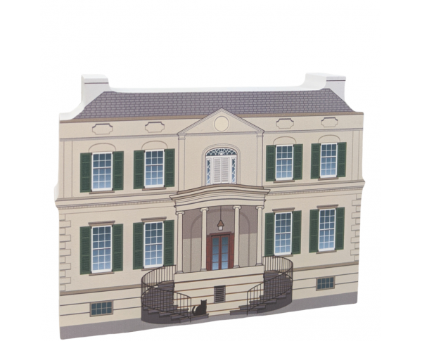 "Replica of the Owen's-Thomas House front,Savannah, Georgia.  Handcrafted in 3/4"" thick wood by The Cat's Meow Village in the USA."