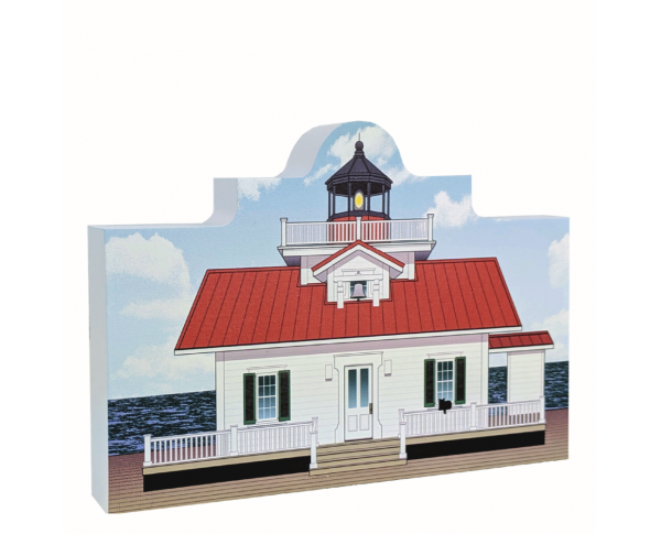 Remember your trip to the Outer Banks with your very own replica of this Roanoke Marshes Lighthouse. We handcraft in all its colorful details in Wooster, Ohio. By The Cat's Meow Village.