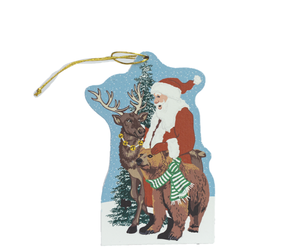 """Wilderness Santa ornament to adorn your holiday tree. Handcrafted by The Cat's Meow Village of 1/4"""" thick wood, plus string ready to hang."""