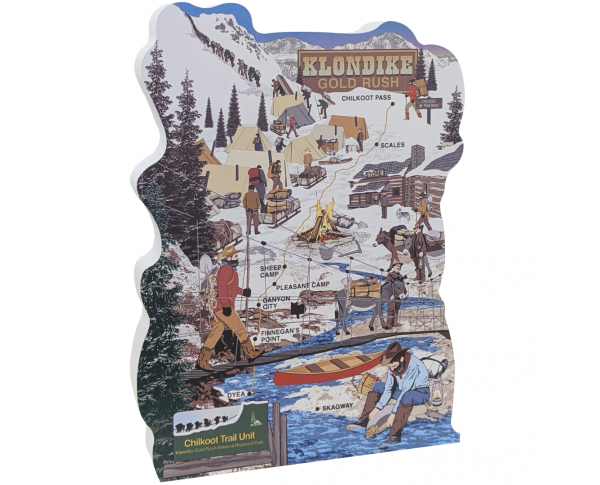 Wooden Cat's Meow replica of the Klondike Gold Rush, Chilkoot Trail, handcrafted by The Cat's Meow Village in the USA.