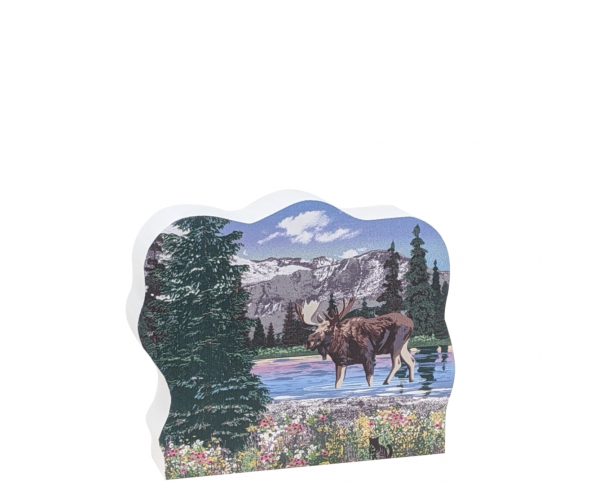"""Detailed scene of moose as one of """"The Big Five"""", Denali, Alaska.  Handcrafted in 3/4"""" thick wood by The Cat's Meow Village in the USA."""