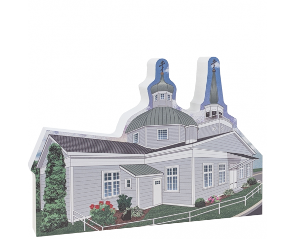 "Replica of St. Michaels Orthodox Cathedral, Sitka, Alaska.  Handcrafted in 3/4"" thick wood by The Cat's Meow Village in the USA."