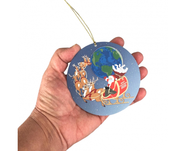 "Santa's Flight 2020 Ornament.  Handcrafted in the USA 3/4"" thick wood by Cat's Meow Village."