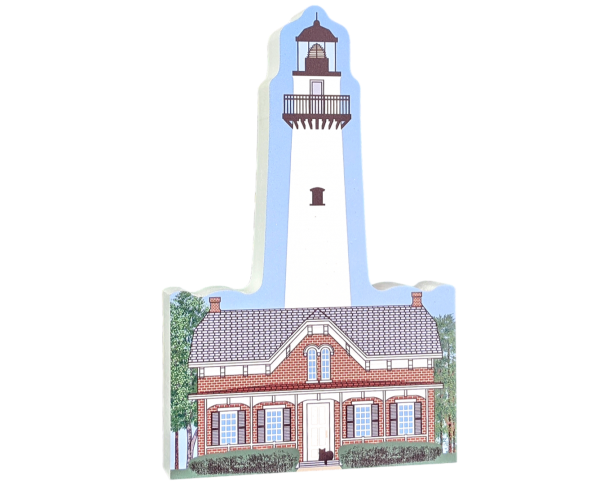"Colorfully detailed front of St. SImons Lighthouse, Georgia. Handcrafted in the USA 3/4"" thick wood by Cat's Meow Village"