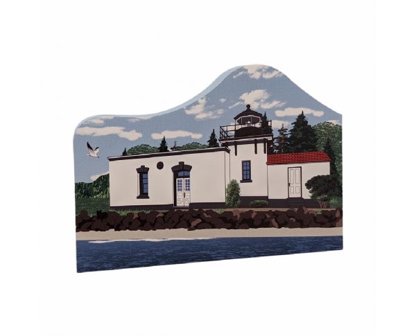 "Point No Point Lighthouse, Hansville, Washington.  Handcrafted in the USA 3/4"" thick wood by Cat's Meow Village."