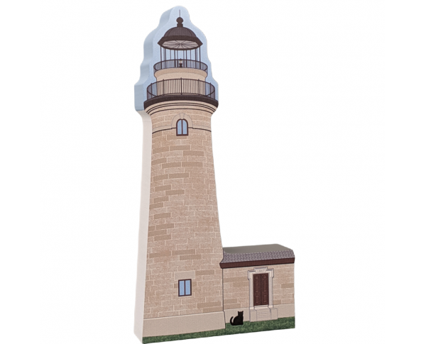 "Erie Land Lighthouse, Erie, Pennsylvania. Handcrafted in the USA 3/4"" thick wood by Cat's Meow Village."