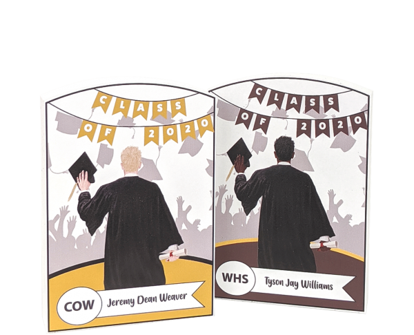 "Add your grads style to this graduation commemorative handcrafted in 3/4"" thick wood by The Cat's Meow Village in the USA."