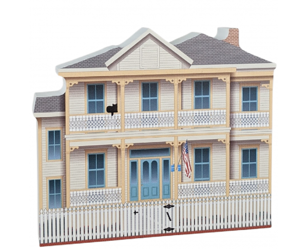 Beautifully detailed replica of Lear / Rocheblave House, Pensacola, Florida. Handcrafted in the USA by Cat's Meow Village.
