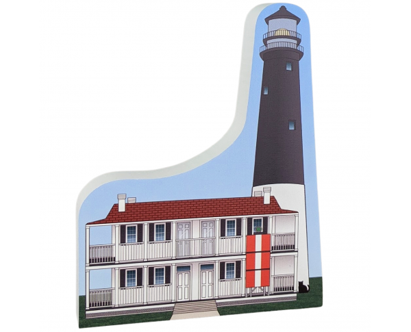 Colorful replica of Pensacola Lighthouse, Pensacola, Florida,  Handcrafted in the USA by Cat's Meow Village.