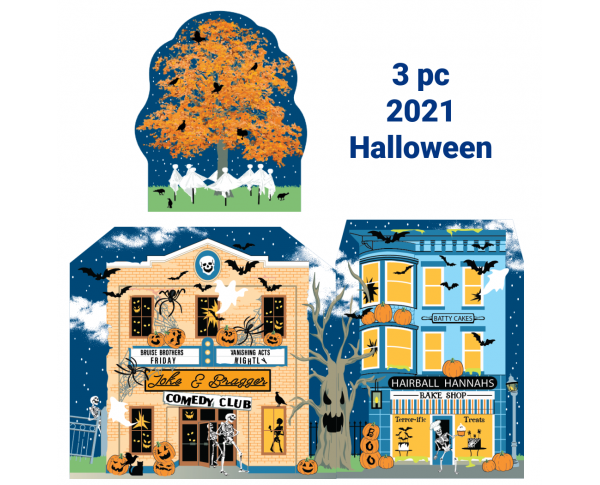 """Buy all 3 2021 Halloween designs with one click. Handcrafted in 3/4"""" thick wood by The Cat's Meow Village."""