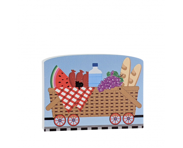 """Picnic Train Car for the Pride of America train Collection handcrafted in 3/4"""" thick wood by The Cat's Meow Village in the USA."""