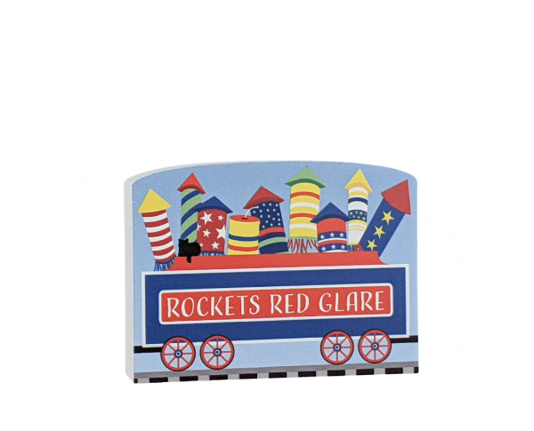 """Rockets Red Glare train car for the Pride of America train Collection handcrafted in 3/4"""" thick wood by The Cat's Meow Village in the USA."""