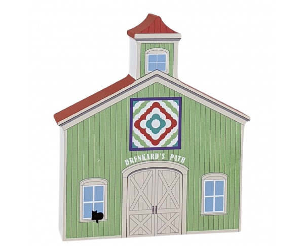 """Drunkard's Path Quilt Barn crafted in 3/4"""" thick wood to decorate your bookshelf or sewing room wall. Handcrafted in the USA by The Cat's Meow Village. Look for our Casper black cat!"""