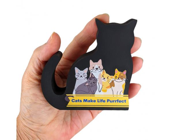"Cats Make Life Purrfect, don't you think? Our black cat mascot, Casper, sends this message out into the world for all your furiends to see! Handcrafted of 3/4"" thick wood in Wooster, Ohio."