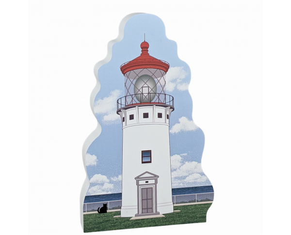 "Wooden replica of Kilauea Lighthouse, Hawaii, handcrafted in 3/4"" wood by the Cat's Meow Village in the USA."