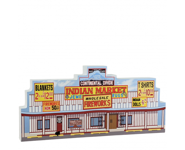 "Colorful replica of RT 66-Continental Divide Trading Post, New Mexico. Handcrafted in the USA 3/4"" thick wood by Cat's Meow Village. H"