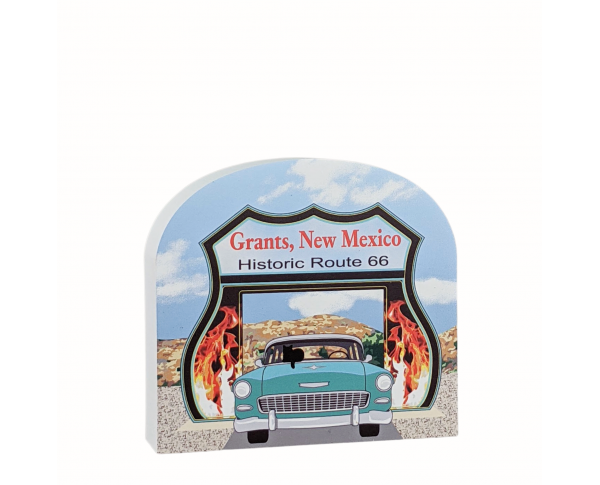 "RT 66-Neon Drive Thru, Grants, New Mexico. Handcrafted in the USA 3/4"" thick wood by Cat's Meow Village."