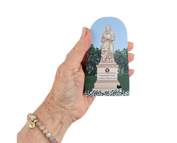 Wooden souvenir of Madonna of the Trail statue handcrafted by The Cat's Meow Village in the USA.