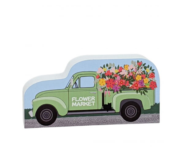 Add this Flower Market vintage truck to you decor and imagine all those wonderful flower smells! Handcrafted in the USA by The Cat's Meow Village.